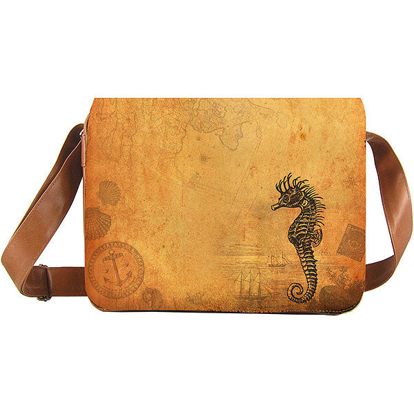 Shop vegan brand LAVISHY's cool unisex vegan/faux leather large messenger/travel bag with vintage style seahorse print. It's a great gift idea for you or your friends, co-worker & family. Wholesale available at www.lavishy.com with unique & fun vegan fashion accessories for retailers like gift shop & boutique.