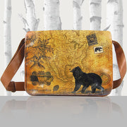 Online shopping for LAVISHY unisex vegan leather large messenger/laptop bag with vintage style bear print. A great gift idea for family & friends. More fun products for wholesale at www.lavishy.com for gift shops, fashion accessories & clothing boutiques in Canada, USA & worldwide.