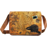 Online shopping for LAVISHY unisex vegan leather large messenger/laptop bag with vintage style beaver print. A great gift idea for family & friends. More fun products for wholesale at www.lavishy.com for gift shops, fashion accessories & clothing boutiques in Canada, USA & worldwide.