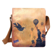 Shop vegan brand LAVISHY's unisex vegan leather medium messenger/laptop bag with vintage style New York Statue of Liberty print. A great gift idea for family & friends. More fun products for wholesale at www.lavishy.com for gift shops, fashion accessories & clothing boutiques in Canada, USA & worldwide.