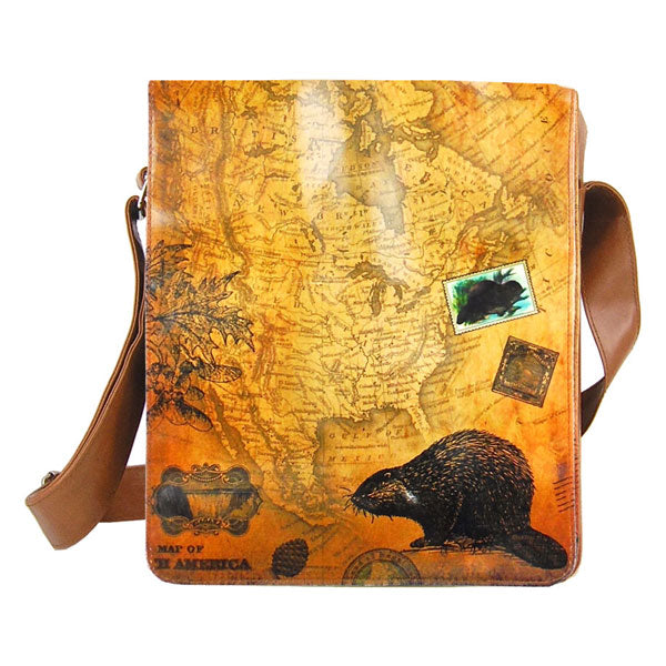 Online Online shopping for LAVISHYping for LAVISHY beaver print unisex vegan medium messenger bag