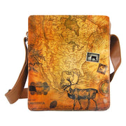 Shop vegan brand LAVISHY's unisex vegan leather medium messenger/laptop bag with vintage style deer print. A great gift idea for family & friends. More fun products for wholesale at www.lavishy.com for gift shops, fashion accessories & clothing boutiques in Canada, USA & worldwide.