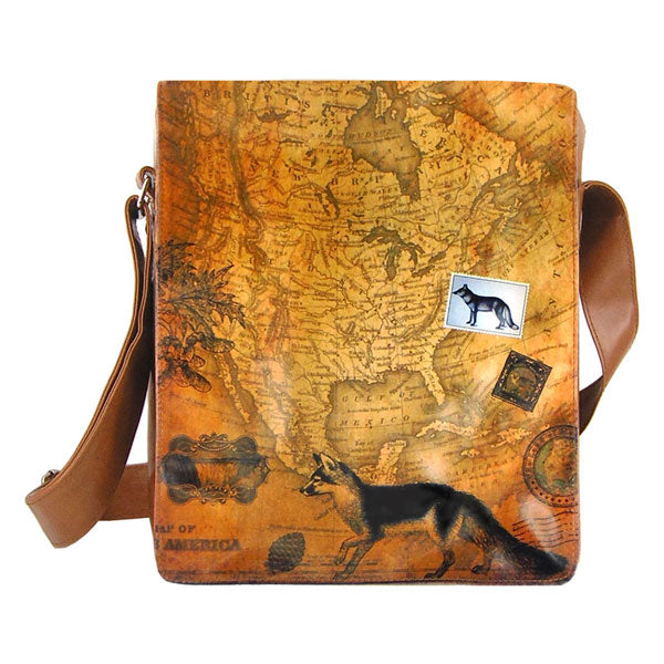 Shop vegan brand LAVISHY's unisex vegan leather medium messenger/laptop bag with vintage style fox print. A great gift idea for family & friends. More fun products for wholesale at www.lavishy.com for gift shops, fashion accessories & clothing boutiques in Canada, USA & worldwide.