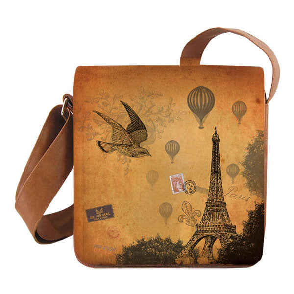 Shop PETA approved vegan brand LAVISHY's cool unisex vegan/faux leather small messenger/travel bag with vintage style Paris Eiffel Tower print. It's a great gift idea for you or your friends, co-worker & family. Wholesale available at www.lavishy.com with unique & fun vegan fashion accessories for retailers like gift shop & boutique.