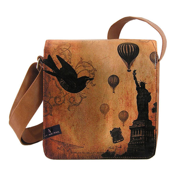 Shop vegan brand LAVISHY's cool unisex vegan/faux leather small messenger/travel bag with vintage style New York Statue of Liberty print. It's a great gift idea for you or your friends, co-worker & family. Wholesale available at www.lavishy.com with unique & fun vegan fashion accessories for retailers like gift shop & boutique.