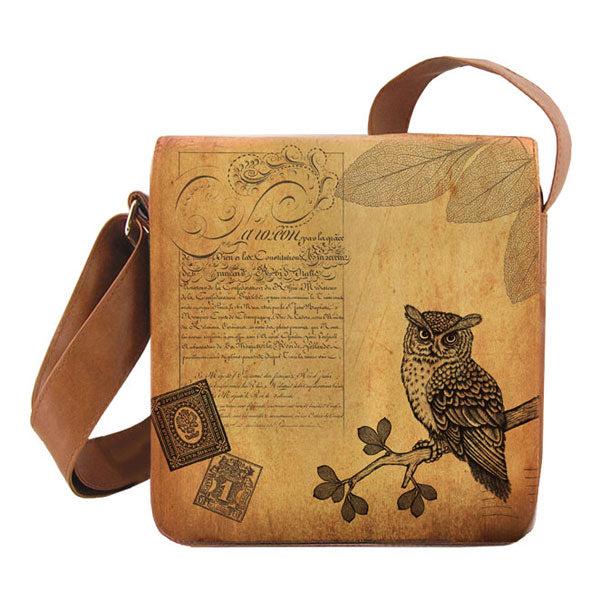 Shop PETA approved vegan brand LAVISHY's cool unisex vegan/faux leather small messenger/travel bag with vintage style peacock print. It's a great gift idea for you or your friends, co-worker & family. Wholesale available at www.lavishy.com with unique & fun vegan fashion accessories for retailers like gift shop & boutique.