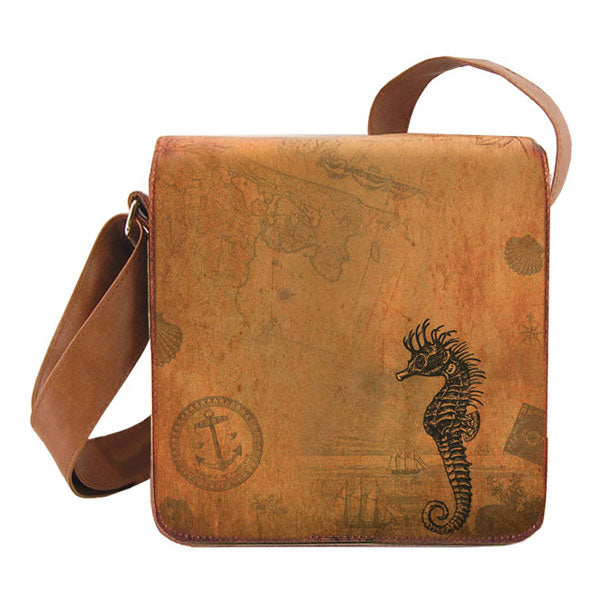 Shop vegan brand LAVISHY's cool unisex vegan/faux leather small messenger/travel bag with vintage style sea horse print. It's a great gift idea for you or your friends, co-worker & family. Wholesale available at www.lavishy.com with unique & fun vegan fashion accessories for retailers like gift shop & boutique.