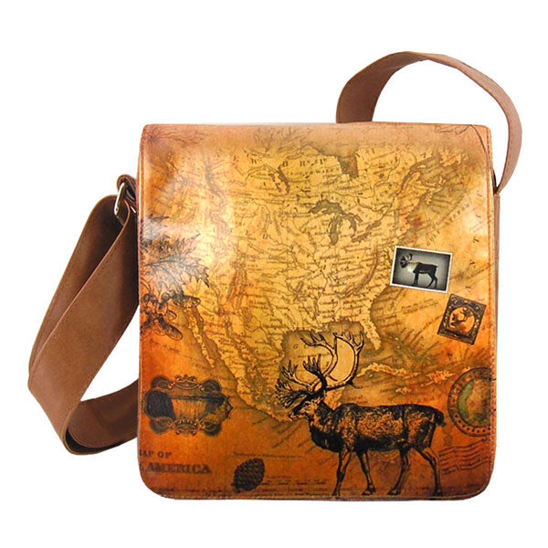 Shop vegan brand LAVISHY's cool unisex vegan/faux leather small messenger/travel bag with vintage style Caribou print. It's a great gift idea for you or your friends, co-worker & family. Wholesale available at www.lavishy.com with unique & fun vegan fashion accessories for retailers like gift shop & boutique.