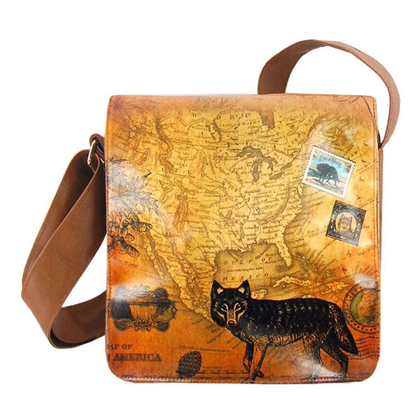 Shop PETA approved vegan brand LAVISHY's cool unisex vegan/faux leather small messenger/travel bag with vintage style wolf print. It's a great gift idea for you or your friends, co-worker & family. Wholesale available at www.lavishy.com with unique & fun vegan fashion accessories for retailers like gift shop & boutique.