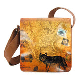 Shop vegan brand LAVISHY's cool unisex vegan/faux leather small messenger/travel bag with vintage style wolf print. It's a great gift idea for you or your friends, co-worker & family. Wholesale available at www.lavishy.com with unique & fun vegan fashion accessories for retailers like gift shop & boutique.