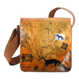 Shop vegan brand LAVISHY's cool unisex vegan/faux leather small messenger/travel bag with vintage style fox print. It's a great gift idea for you or your friends, co-worker & family. Wholesale available at www.lavishy.com with unique & fun vegan fashion accessories for retailers like gift shop & boutique.