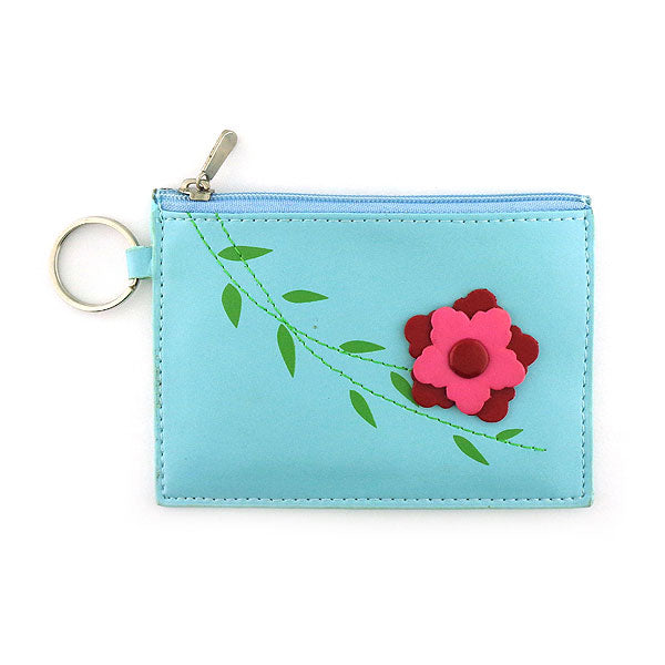 Online shopping for vegan brand LAVISHY's fun & playful embossed vegan/faux leather key ring coin purse with a beautiful 3d flower. It's a great gift idea for you or your friends & family. Wholesale at www.lavishy.com with many unique & fun fashion accessories.