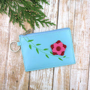 88-704: Flower embossed vegan coin purse