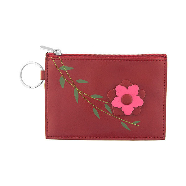 Shop vegan brand LAVISHY's fun & playful embossed vegan/faux leather key ring coin purse with a beautiful 3d flower. It's a great gift idea for you or your friends & family. Wholesale available at www.lavishy.com with many unique & fun fashion accessories.