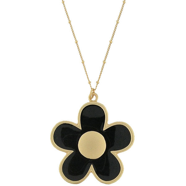 883-043: Enamel necklace-daisy flower