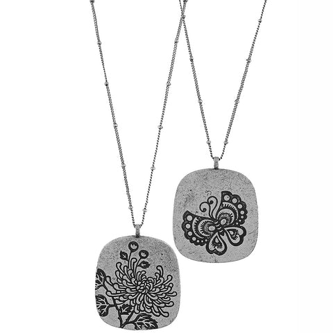 883-077: Reversible necklace-chrysanthemum & butterfly