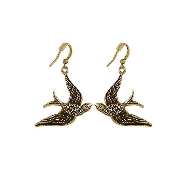 Shop PETA approved vegan brand LAVISHY's unique, beautiful, affordable & meaningful handmade vintage style swallow bird earrings. A thoughtful gift for you or your girlfriend, wife, co-worker, friend & family. Wholesale available at www.lavishy.com with many unique & fun fashion jewelry.
