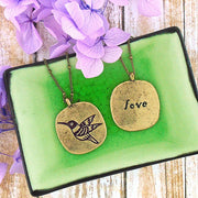 Shop LAVISHY hummingbird & love vintage style reversible necklace. A great gift for you or your girlfriend, wife, co-worker, friend & family. Wholesale available at www.lavishy.com with many unique & fun fashion accessories.