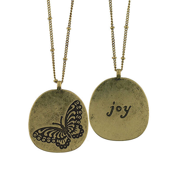 Shop LAVISHY butterfly & joy vintage style reversible necklace. A great gift for you or your girlfriend, wife, co-worker, friend & family. Wholesale available at www.lavishy.com with many unique & fun fashion accessories.