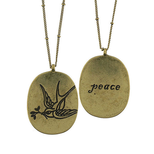 Shop LAVISHY swallow bird & peace vintage style reversible necklace. A great gift for you or your girlfriend, wife, co-worker, friend & family. Wholesale available at www.lavishy.com with many unique & fun fashion accessories.