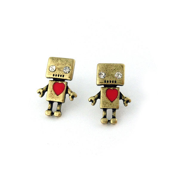 Shop PETA approved vegan brand LAVISHY's unique, beautiful, affordable & meaningful handmade vintage style robot earrings. A thoughtful gift for you or your girlfriend, wife, co-worker, friend & family. Wholesale available at www.lavishy.com with many unique & fun fashion jewelry.