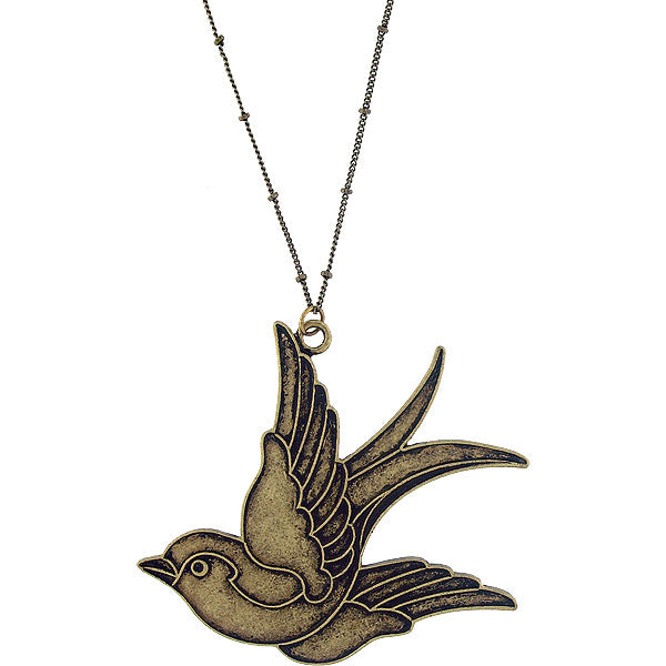 Online shopping for LAVISHY's fun & affordable vintage style reversible tattoo style swallow bird pendant long necklace. A great gift for you or your girlfriend, wife, co-worker, friend & family. Wholesale at www.lavishy.com with many unique & fun fashion accessories.