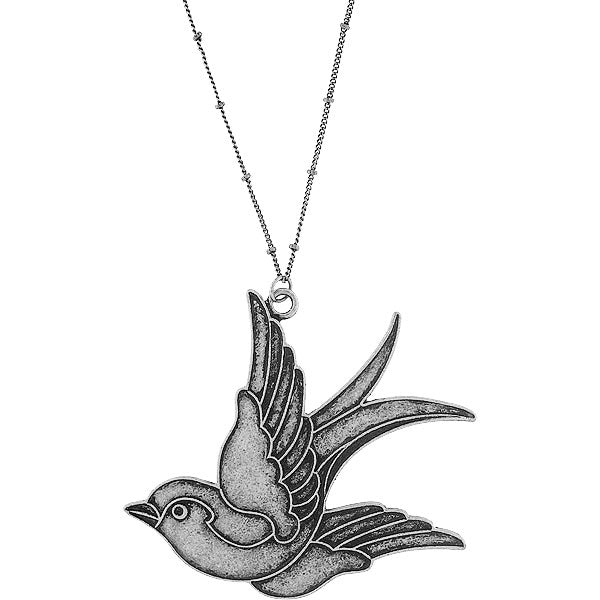 Shop LAVISHY's fun & affordable vintage style reversible tattoo style swallow bird pendant long necklace. A great gift for you or your girlfriend, wife, co-worker, friend & family. Wholesale available at www.lavishy.com with many unique & fun fashion accessories.