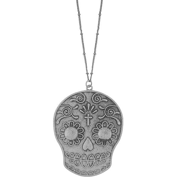 Shop LAVISHY's fun & affordable vintage style reversible Sugar Skull pendant long necklace. A great gift for you or your girlfriend, wife, co-worker, friend & family. Wholesale available at www.lavishy.com with many unique & fun fashion accessories.