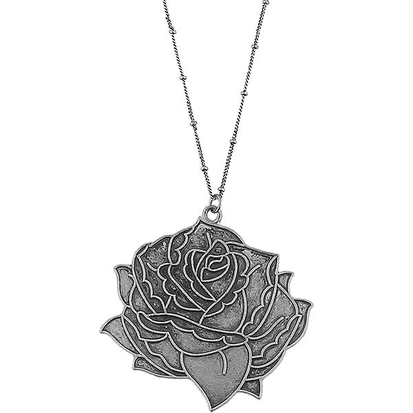 Online shopping for LAVISHY's fun & affordable vintage style reversible vintage look tattoo style rose flower pendant long necklace. A great gift for you or your girlfriend, wife, co-worker, friend & family. Wholesale at www.lavishy.com with many unique & fun fashion accessories.