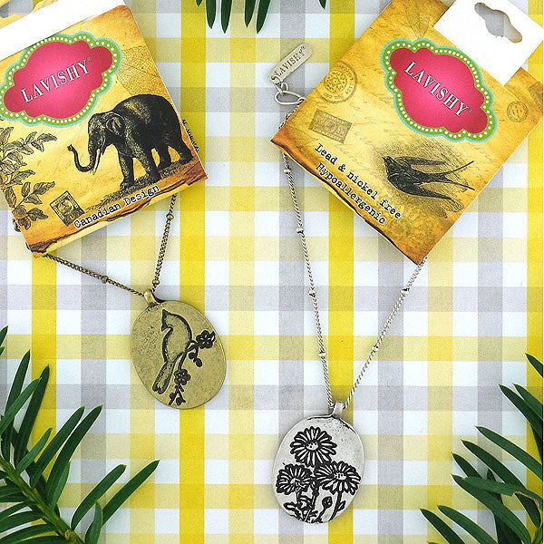 Shop LAVISHY's fun & affordable vintage style reversible necklace-Bird & Chrysanthemum. A great gift for you or your girlfriend, wife, co-worker, friend & family. Wholesale available at www.lavishy.com with many unique & fun fashion accessories.
