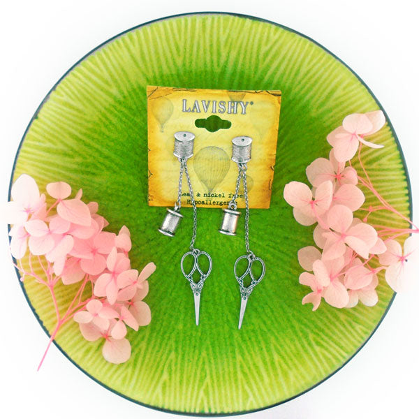Shop PETA approved vegan brand LAVISHY's unique, beautiful, affordable & meaningful handmade vintage style Scissors and thread reel earrings. A thoughtful gift for you or your girlfriend, wife, co-worker, friend & family. Wholesale available at www.lavishy.com with many unique & fun fashion jewelry.