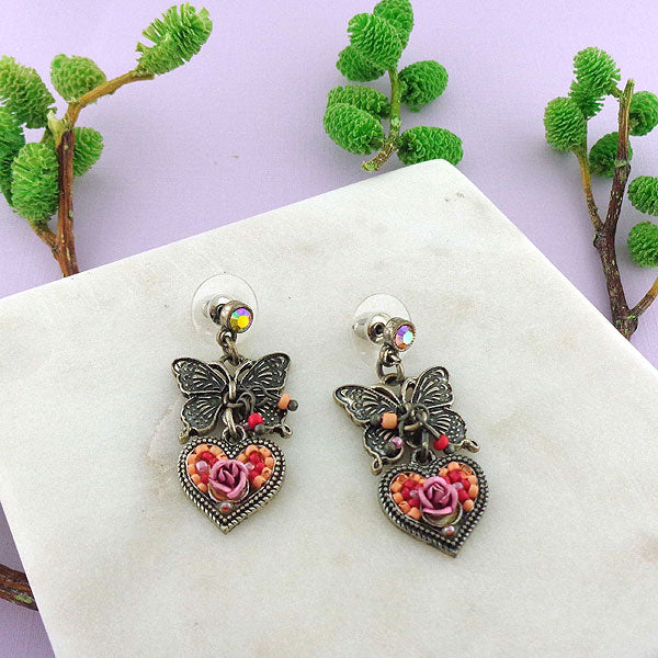883-308: Handmade vintage butterfly, heart & flower earrings