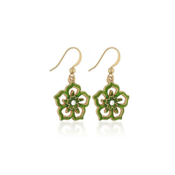 Online shopping for PETA approved vegan brand LAVISHY's unique, beautiful, affordable handmade earrings feature flower pendants with enamel and rhinestone accent. A thoughtful gift for you or your girlfriend, wife, co-worker, friend & family. Wholesale at www.lavishy.com with many unique & fun fashion jewelry.