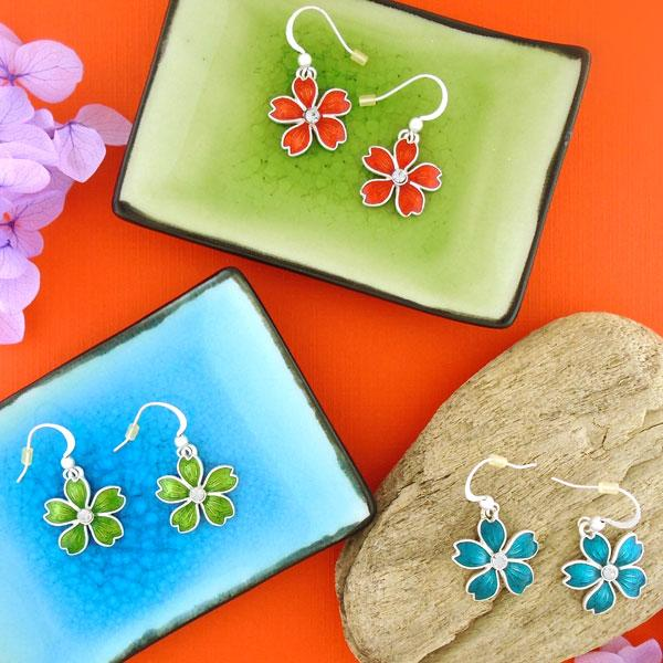Online shopping for PETA approved vegan brand LAVISHY's unique, beautiful, affordable handmade earrings feature cherry blossom flower pendants with enamel and rhinestone accent. A thoughtful gift for you or your girlfriend, wife, co-worker, friend & family. Wholesale at www.lavishy.com with many unique & fun fashion jewelry.