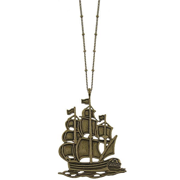 Shop LAVISHY's fun & affordable vintage style reversible vintage look Sailing Ship pendant long necklace. A great gift for you or your girlfriend, wife, co-worker, friend & family. Wholesale available at www.lavishy.com with many unique & fun fashion accessories.