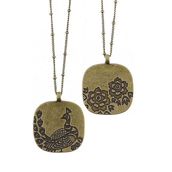 Online shopping for LAVISHY peacock & peony flower vintage style reversible necklace. A great gift for you or your girlfriend, wife, co-worker, friend & family. Wholesale at www.lavishy.com with many unique & fun fashion accessories.