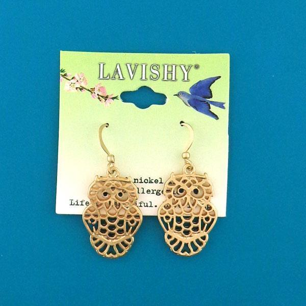 Shop PETA approved vegan brand LAVISHY's unique, beautiful, affordable handmade cutout style owl earrings. A thoughtful gift for you or your girlfriend, wife, co-worker, friend & family. Wholesale available at www.lavishy.com with many unique & fun fashion jewelry.
