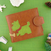 Online shopping for vegan brand LAVISHY's fun & Eco-friendly Scottie/Westie dog applique vegan medium bifold wallet. Great for everyday use, cool gift for family & friends. Wholesale at www.lavishy.com for gift shops, clothing & fashion accessories boutiques, book stores in Canada, USA & worldwide since 2001.