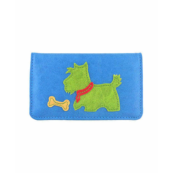 Shop PETA approved vegan brand LAVISHY's Scottie dog applique vegan/faux leather cardholder. Wholesale available at http://www.lavishy.com/lookbook/lavishy-adora-collection-look-book.htm