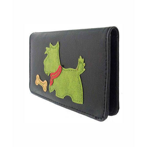 Shop vegan brand LAVISHY's Scottie dog applique vegan/faux leather cardholder. Wholesale available at http://www.lavishy.com/wholesale/lavishy-wholesale-applique-vegan-bags-wallet-and-accessories.htm