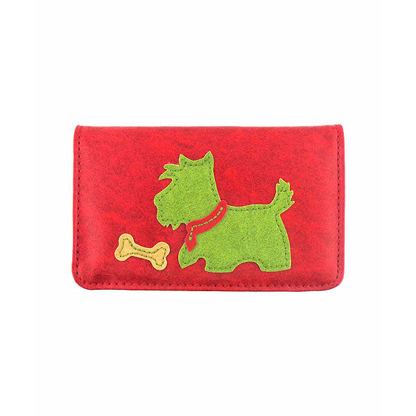 Online shopping for vegan brand LAVISHY's fun & playful applique vegan/faux leather cardholder with adorable Scottie dog & bone applique.  It's Eco-friendly, ethically made, cruelty free. A great gift for you or your friends & family. Wholesale at www.lavishy.com with many unique & fun fashion accessories.