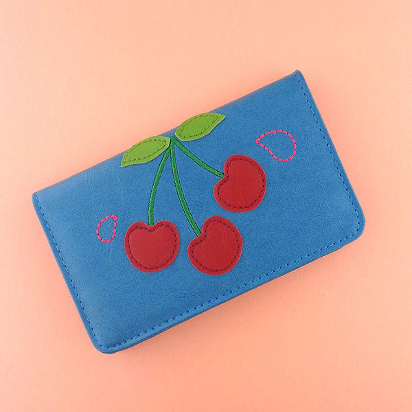 Online shopping for vegan brand LAVISHY's fun & playful applique vegan/faux leather cardholder with adorable cherry applique.  It's Eco-friendly, ethically made, cruelty free. A great gift for you or your friends & family. Wholesale at www.lavishy.com with many unique & fun fashion accessories.