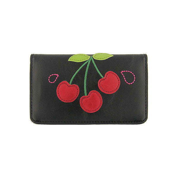 Shop vegan brand LAVISHY's cherry applique vegan/faux leather cardholder. Wholesale available at http://www.lavishy.com/wholesale/lavishy-wholesale-applique-vegan-bags-wallet-and-accessories.htm