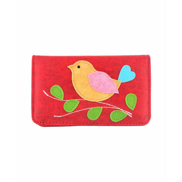 55-1312: Bird applique vegan cardholder