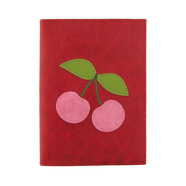 Shop vegan brand LAVISHY's cherry applique vegan/faux leather passport cover. Wholesale available at http://www.lavishy.com/lookbook/lavishy-adora-collection-look-book.htm