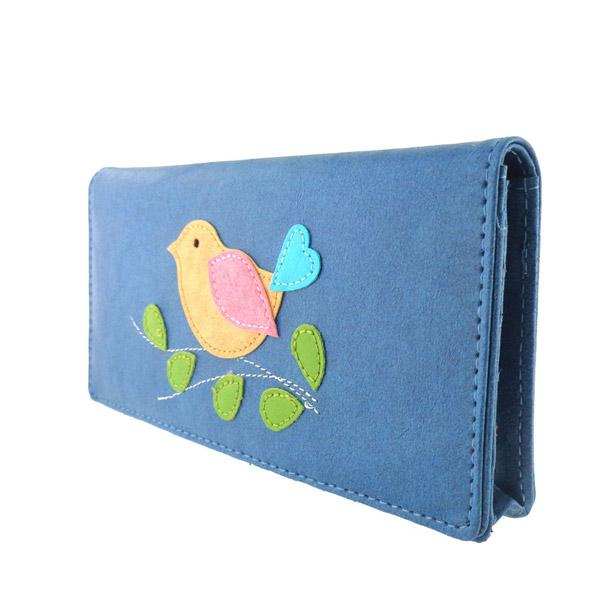 Online shopping for vegan brand LAVISHY's fun & Eco-friendly cruelty free colorful bird applique vegan large wallet. Great for everyday use, cool gift for family & friends. Wholesale at www.lavishy.com for gift shops, clothing & fashion accessories boutiques, book stores in Canada, USA & worldwide since 2001.