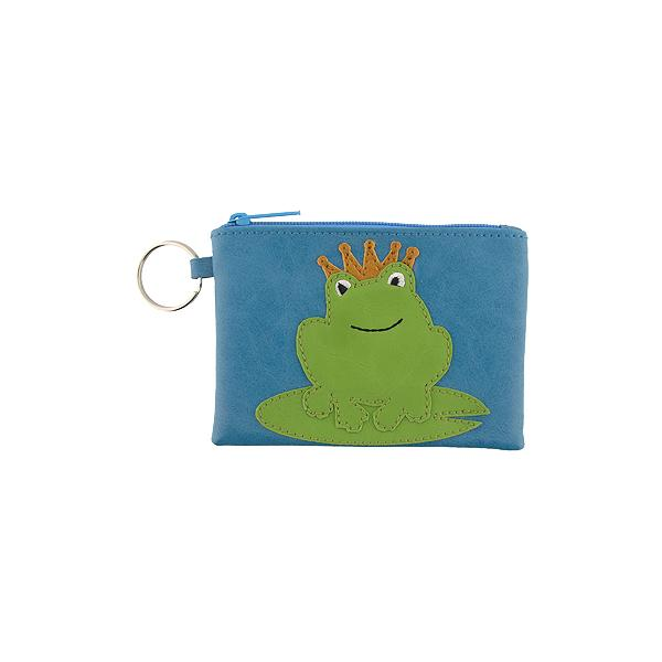 Online shopping for vegan brand LAVISHY's playful applique vegan key ring coin purse with adorable prince charming frog applique. Great for everyday use, fun gift for family & friends. Wholesale at www.lavishy.com for gift shop, clothing & fashion accessories boutique, book store in Canada, USA & worldwide since 2001.