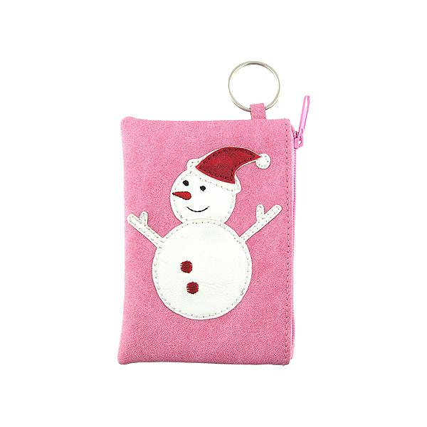Online shopping for vegan brand LAVISHY's playful applique vegan key ring coin purse with adorable snow man applique. Great for everyday use, fun gift for family & friends. Wholesale at www.lavishy.com for gift shop, clothing & fashion accessories boutique, book store in Canada, USA & worldwide since 2001.