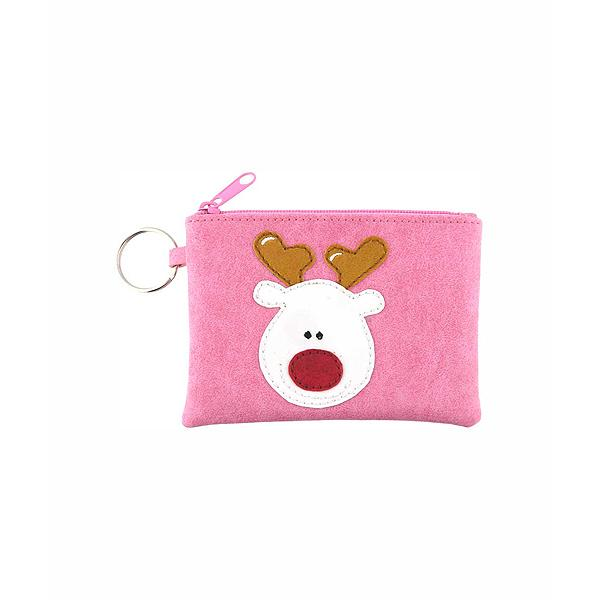 Online shopping for vegan brand LAVISHY's playful applique vegan key ring coin purse with adorable reindeer applique. Great for everyday use, fun gift for family & friends. Wholesale at www.lavishy.com for gift shop, clothing & fashion accessories boutique, book store in Canada, USA & worldwide since 2001.