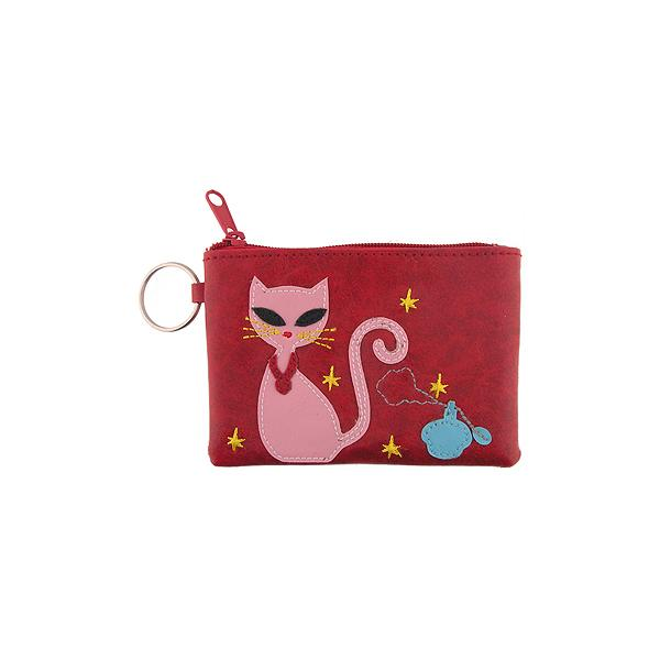 Online shopping for vegan brand LAVISHY's playful applique vegan key ring coin purse with adorable pink cat applique. Great for everyday use, fun gift for family & friends. Wholesale at www.lavishy.com for gift shop, clothing & fashion accessories boutique, book store in Canada, USA & worldwide since 2001.